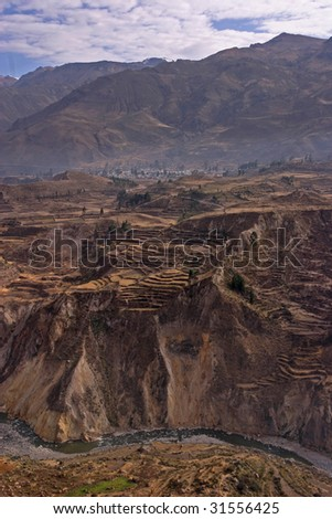 Partial view of the Colca Canyon, Peru - stock photo