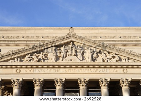 Partial view of the facade of the National Archives in Washington, DC. - stock photo