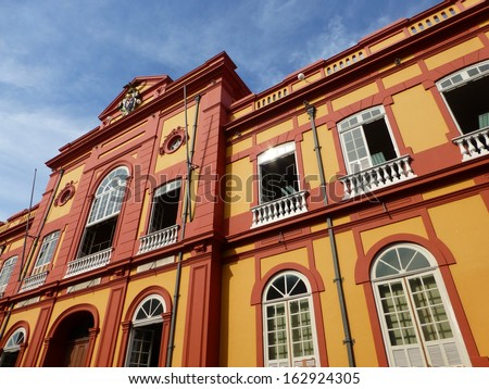 Partial view of the public library in Manaus founded in 1870. Amazonas, Brazil   - stock photo