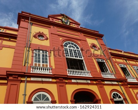 Partial view of the public library in Manaus founded in 1870. Amazonas Brazil  - stock photo