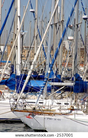 partial view of the yachts docked at Port Vell in the city of Barcelona, Catalunya, Spain, Europe