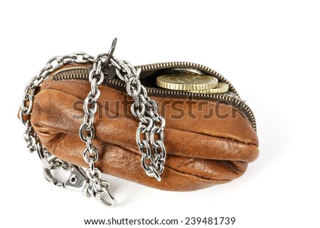 Partially opened purse with a few cents visible in it - stock photo