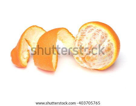 Partially peeled Tangelo on a white background - stock photo