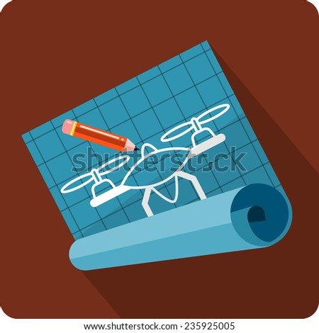 Partially Unrolled Blueprint - stock photo