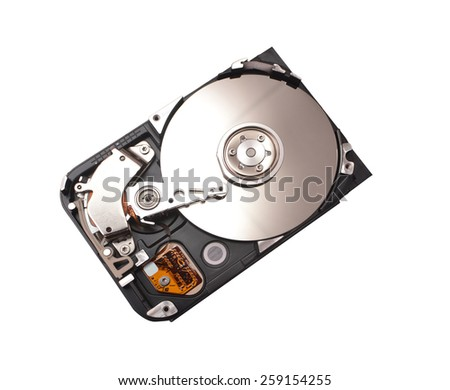 Partially view of disassembled hard disk drive.