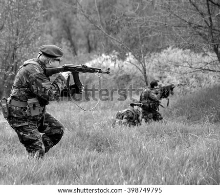 Participant(s) of the Airsoft festival at April 18, 2010 in Budapest, Hungary. - stock photo