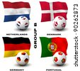 Participating teams of Group B of Europe's biggest soccer competition. Easy to edit and use. - stock photo