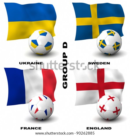 Participating teams of Group D of Europe's biggest soccer competition. Easy to edit and use. - stock photo
