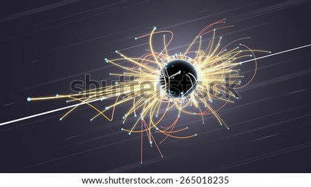 Particle Collision and Blackhole in LHC (Large Hadron Collider) - stock photo