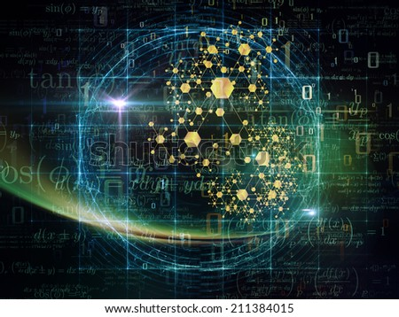 Particle Geometry series. Arrangement of number, math and design elements on the subject of science, technology and education - stock photo
