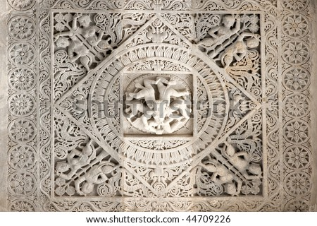 Particular of a jainist temple, Ranakpur, Rajasthan, India. - stock photo
