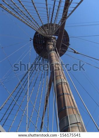Particular of Neptune Galeon in the port of Genova italy - stock photo
