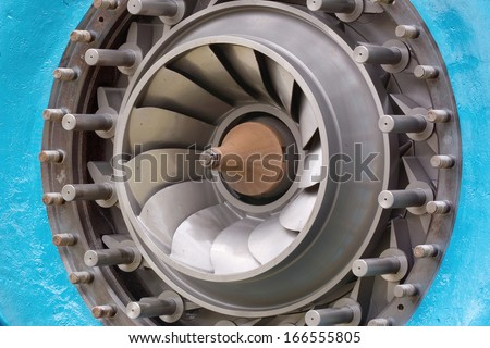 particular of the rotor of a hydraulic turbine francis - stock photo