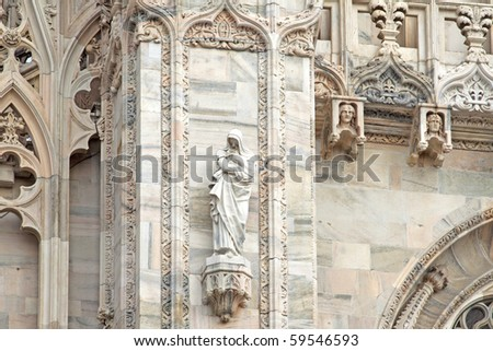 Particulars of decorations of Duomo of Milano, one of the most important monuments of christianity