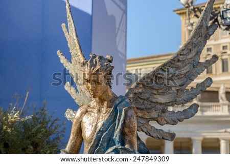 Particulars of San Pietro Church and the column in the square, Rome Italy, the angel - stock photo