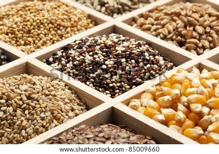 partitioned wooden box filled with a variety of seeds and grains