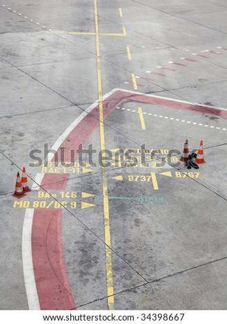 Partitioning in concrete at the airport Berlin Tegel - stock photo