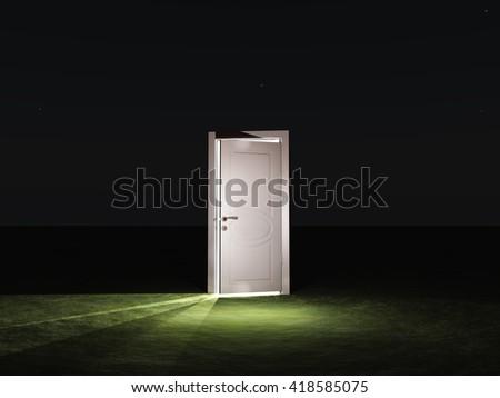 Partly closed door emits light 3D Render - stock photo
