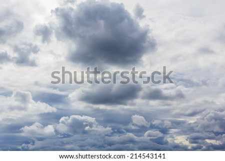 Partly cloudy sky with rain storm. - stock photo