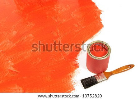 Partly finished blank red painted floor with paint can and paintbrush.  Space for copy. - stock photo