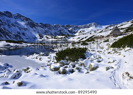 Partly frozen lake in 5 lakes valley, High Tatra Mountains