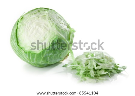 partly sliced cabbage - stock photo