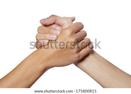 Partner hand between a man and woman on white background - stock photo