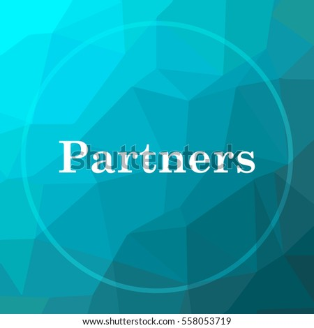 Partners icon. Partners website button on blue low poly background.