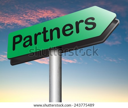 Partners our business partnership and cooperation group in team work  - stock photo