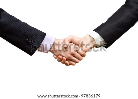 partners shaking hands isolated