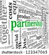Partnership and business concept in tag cloud on white - stock photo