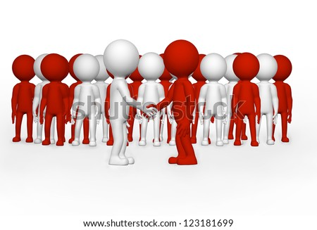 Partnership concept of 3d business men shaking hands in front of a corporate team on a white background.