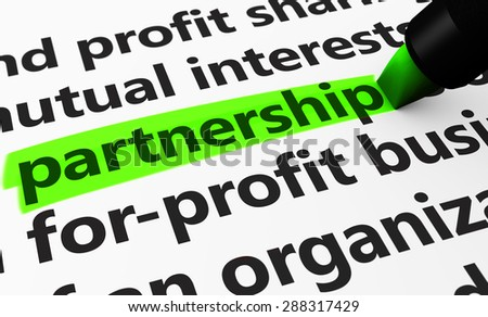 Partnership concept with a 3d render of business related words on a paper document and partnership text highlighted with a green marker. - stock photo