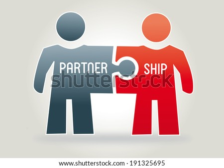 partnership concept with two figures made ??from puzzle pieces - stock photo