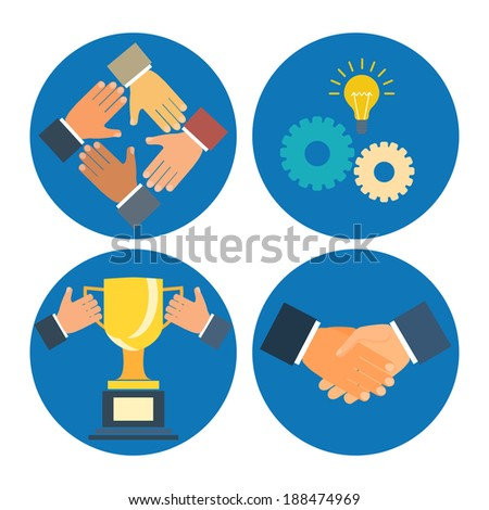 partnership concepts business illustration: assistance, cooperation, collaboration and success - stock photo