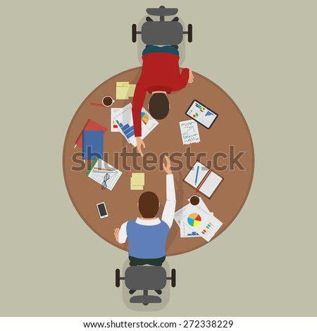 Partnership Deal Between Two Businessmen. Flat Illustration. - stock photo