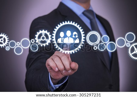 Partnership Gear Concept on Touch Screen - stock photo