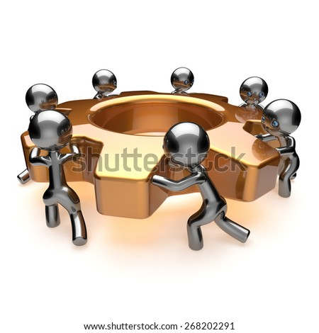 Partnership team business process workers turning gear together team work. Teamwork cooperation relationship efficiency community workforce concept. 3d render isolated on white - stock photo