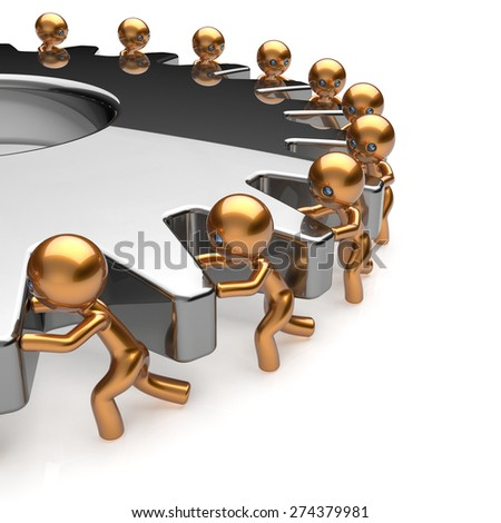Partnership team work business process workers turning gear make hard job together. Teamwork cooperation relationship efficiency community workforce concept. 3d render isolated on white - stock photo
