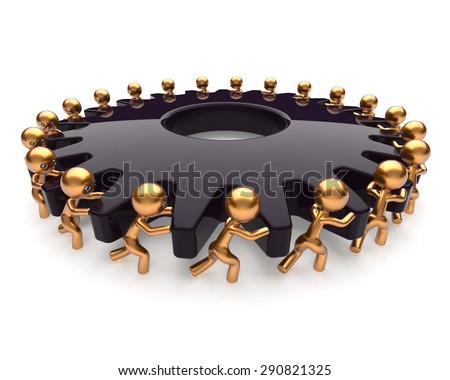 Partnership teamwork black gear gearwheel business process team work hard job men turning together. Manpower cooperation assistance activism community concept. 3d render isolated on white - stock photo