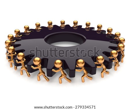 Partnership teamwork business process team work hard job men turning black gear together. Manpower cooperation assistance activism community concept. 3d render isolated on white - stock photo
