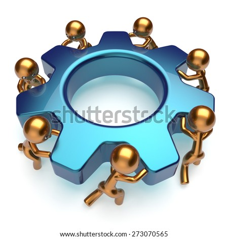 Partnership teamwork business process workers turning gear together. Friends team cooperation relationship efficiency community workforce concept. 3d render isolated on white - stock photo