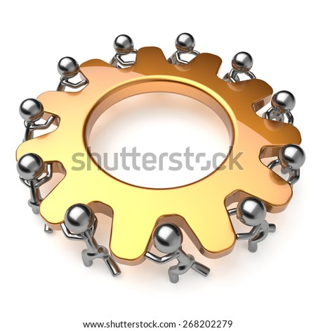 Partnership teamwork business process 11 workers turning gear together. Team cooperation efficiency relationship community workforce concept. 3d render isolated on white - stock photo
