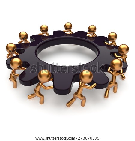 Partnership teamwork business unity brainstorm process mans start turning black gear together. Abstract team unity cooperation relationship community efficiency concept. 3d render isolated on white - stock photo