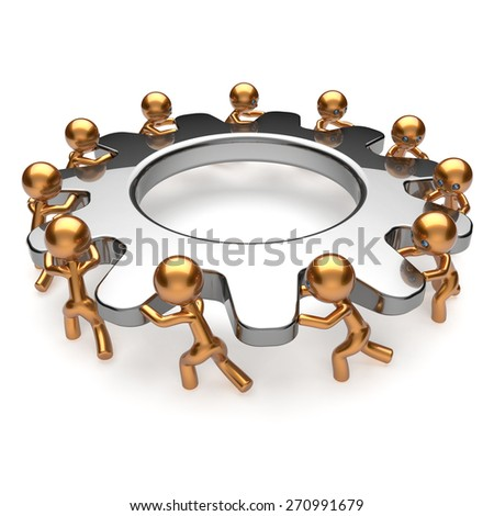 Partnership teamwork process business man characters turning gear together. Team cooperation relationship community efficiency concept. 3d render isolated on white - stock photo
