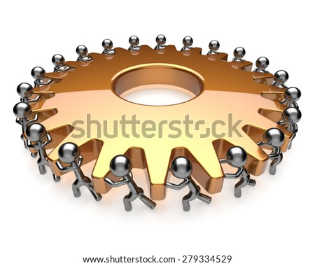 Partnership teamwork team work hard job business process men turning gear together. Brainstorming cooperation assistance efficiency community unity concept. 3d render isolated on white - stock photo