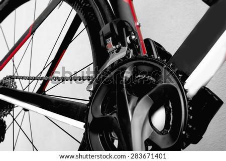 parts bicycle wheel, chain, frame road bike brake cycling - stock photo