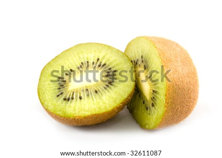 Parts of a kiwi isolated on a white background