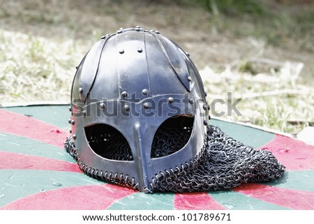 Parts of a medieval knight armor - stock photo