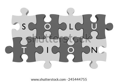 Parts of a puzzle connected together with letters spelling out the word solution - stock photo